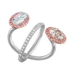 GIA Certified White Oval Diamond and GIA Certified Brown-Pink Diamond Ring