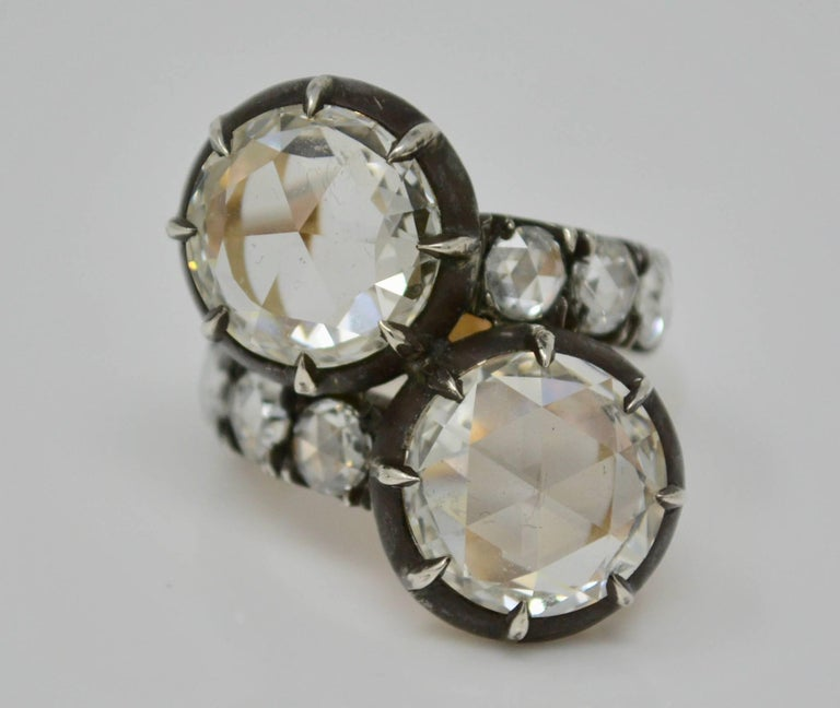 Victorian GIA Certified 10.07 Carat White Rose Cut Diamond Twin Ring For Sale