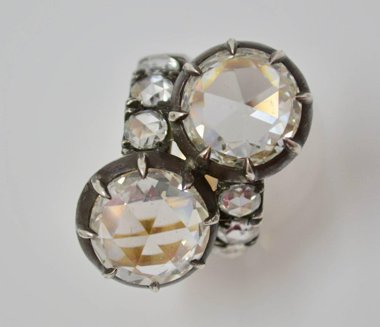 GIA Certified 10.07 Carat White Rose Cut Diamond Twin Ring In New Condition For Sale In New York, NY