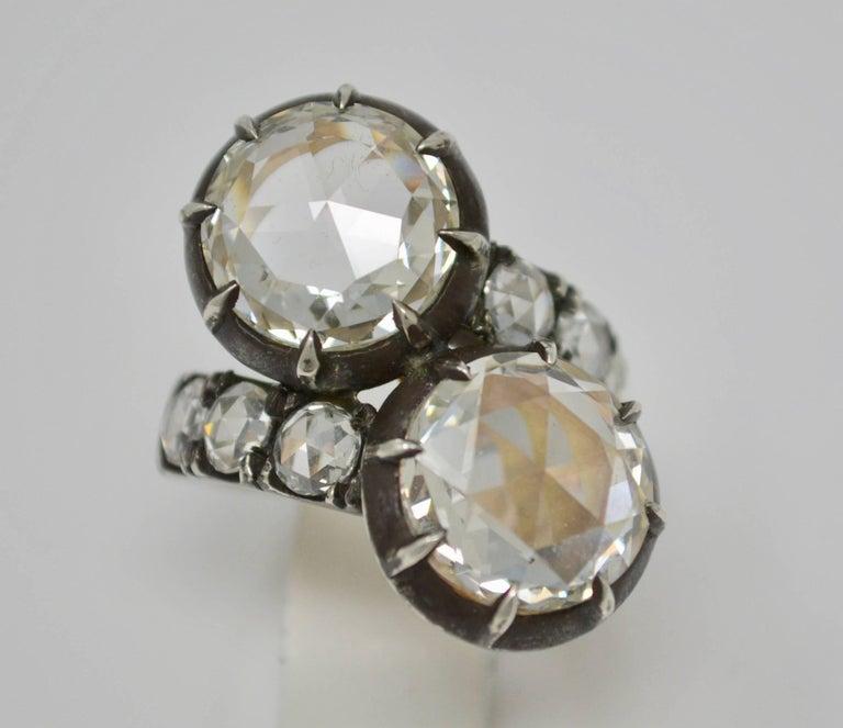 Women's or Men's GIA Certified 10.07 Carat White Rose Cut Diamond Twin Ring For Sale