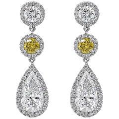 GIA Certified Yellow and White Diamond Pear Shape Dangle Drop Earrings