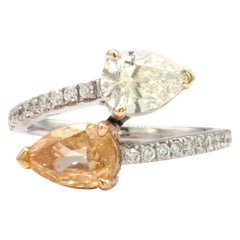 GIA Certified Yellow and White Diamond Ring