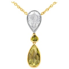 Roman Malakov GIA Certified Yellow & White Pear Shaped Diamond Pendant Necklace