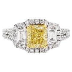 GIA Certified Yellow Diamond and White Diamond K18 Gold Three Stones Ring