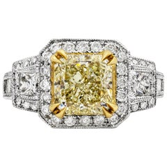 GIA Certified Yellow Diamond Antique-Style Three-Stone Halo Engagement Ring