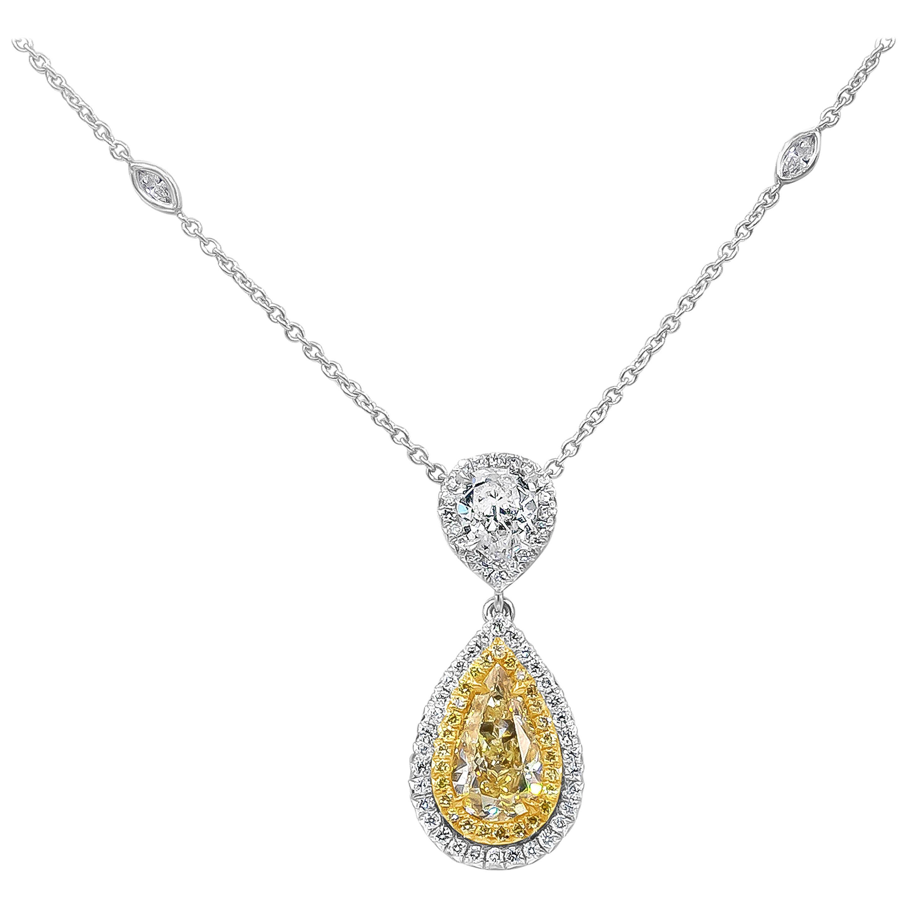 Roman Malakov GIA Certified Yellow Diamond Double Halo Pendant Drop Necklace