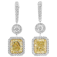 GIA Certified Yellow Diamond Earrings, 6.04 Carat