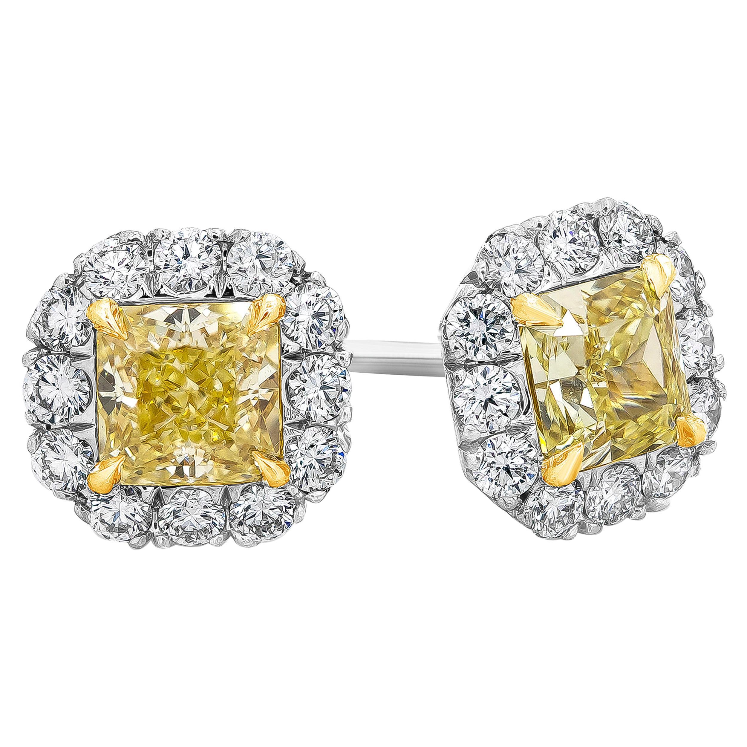 Roman Malakov, GIA Certified Yellow Diamond Halo Stud Earrings
