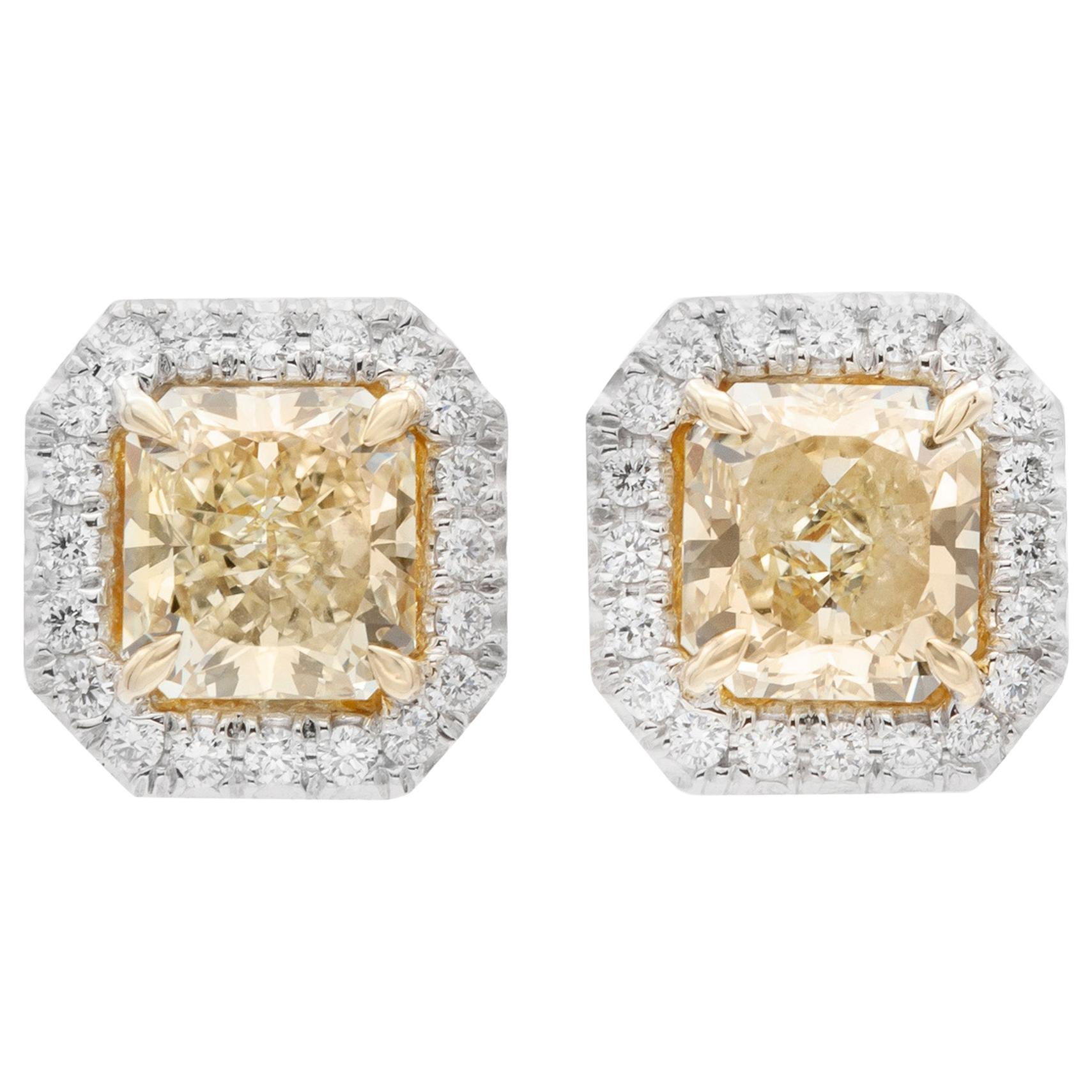 GIA Certified Yellow Diamond Halo Studs