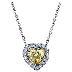 GIA Certified Yellow Diamond Heart Shape Pendant 2.35 Carats Platinum/18KYG
