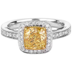 GIA Certified Yellow Diamond Ring, 1.78 Carat
