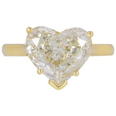 GIA Certified Yellow Gold Heart Cut Diamond Engagement Solitaire Ring 2.83 Carat