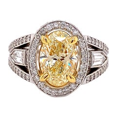 GIA Certified Yellow Oval Shaped Diamond Engagement Ring 3.13 CTTW