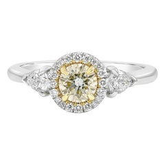GIA Certified Yellowish Green Diamond Halo Three-Stone Engagement Ring