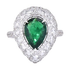 Laviere GIA Certified Zambian Emerald and Diamond Cocktail Ring