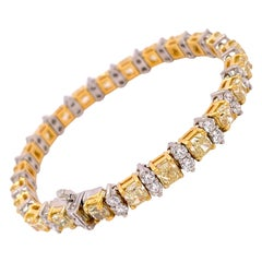 GIA Certifies 14.19 Carats Fancy Yellow Diamond Tennis Bracelet