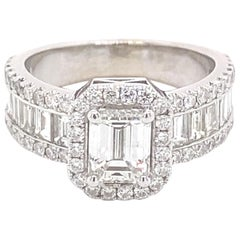 GIA Certified 2.93 Carat H VS2 Emerald Cut Baguette, and Round Diamond Ring
