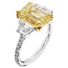 GIA Certifies 3-Stone Ring with 4.52 Carat Emerald Cut Diamond