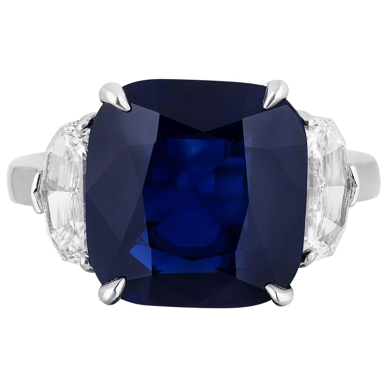 GIA Certifiied 7.38 Carat Natural No Heat Cushion Blue Sapphire Diamond Ring