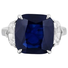GIA Certifiied 7.38 Carat Natural No Heat Cushion Blue Sapphire Diamond Ring
