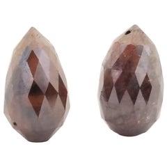 GIA Cognac Colored Diamond One Pair of Briolette