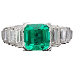 GIA Colombian Emerald and Platinum Ring