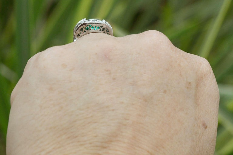 GIA Certified Colombian Emerald Art Deco Engagement Ring Cocktail 4 Carat Total In Good Condition For Sale In Santa Barbara, CA