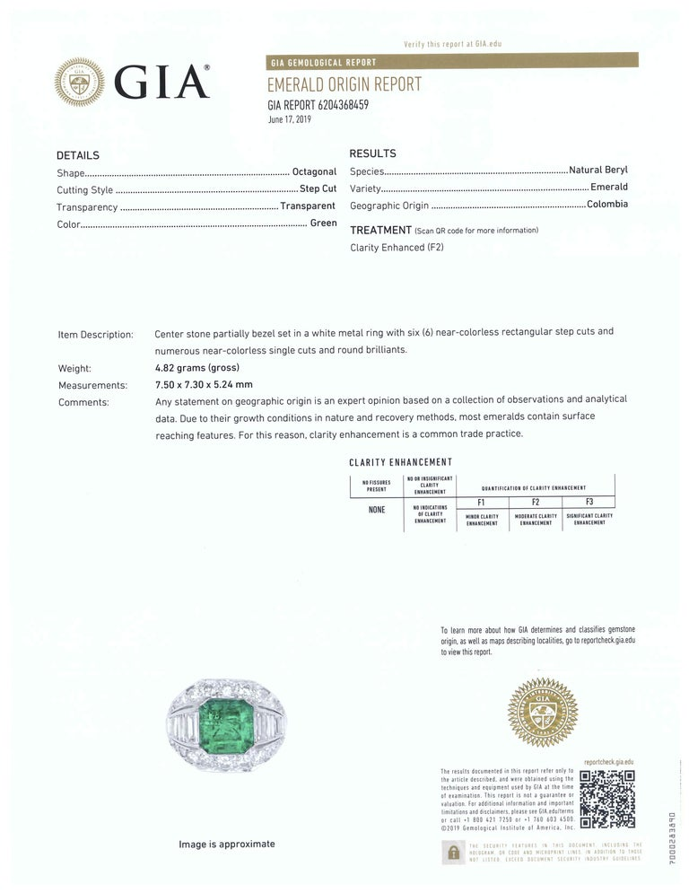 GIA Certified Colombian Emerald Art Deco Engagement Ring Cocktail 4 Carat Total For Sale 1