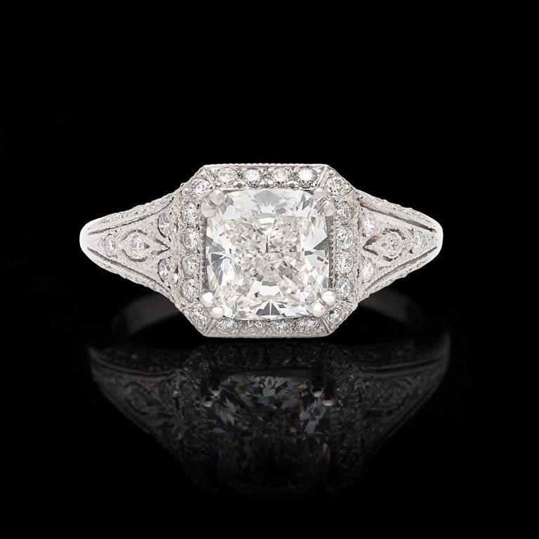 Art Deco GIA Cushion Cut Diamond and Platinum French Engagement Ring For Sale