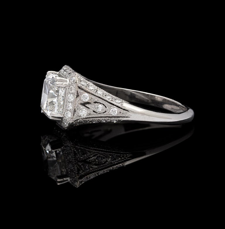 Women's or Men's GIA Cushion Cut Diamond and Platinum French Engagement Ring For Sale