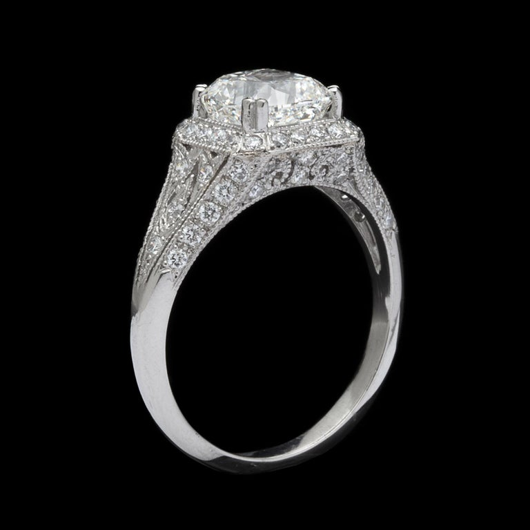 GIA Cushion Cut Diamond and Platinum French Engagement Ring For Sale 2