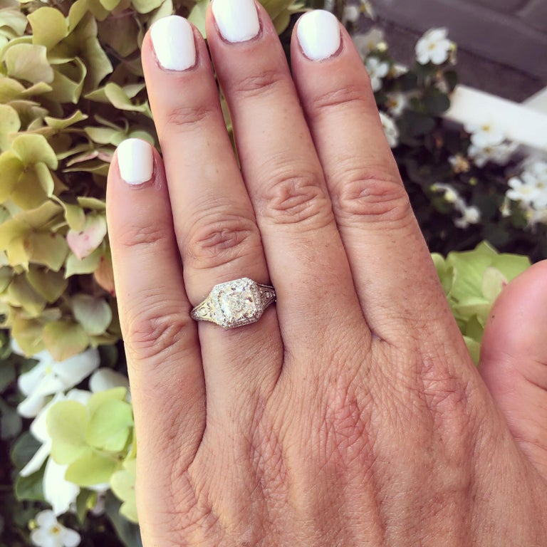 GIA Cushion Cut Diamond and Platinum French Engagement Ring In New Condition For Sale In San Francisco, CA