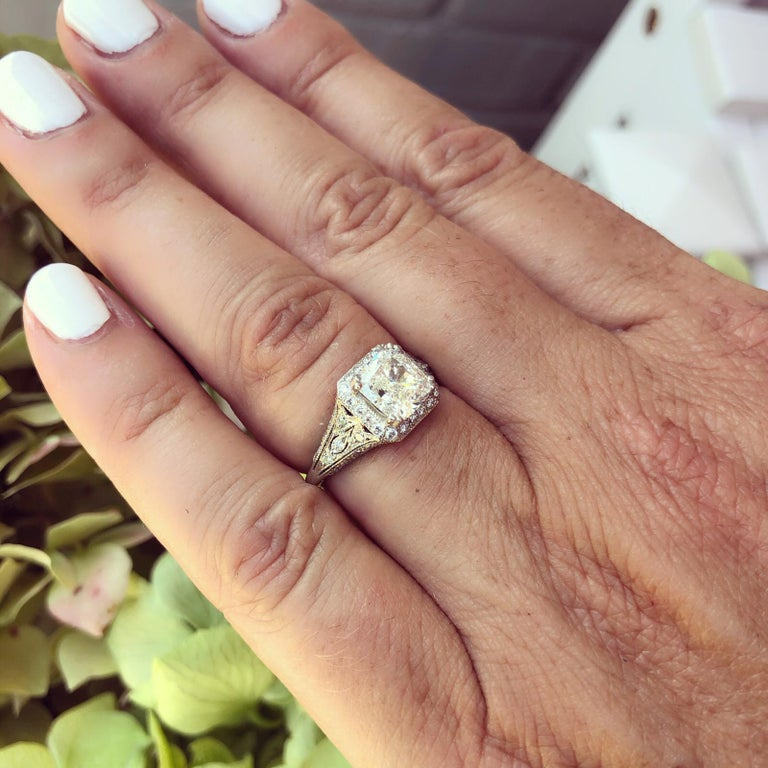 GIA Cushion Cut Diamond and Platinum French Engagement Ring For Sale 3