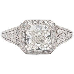 GIA Cushion Cut Diamond and Platinum French Engagement Ring