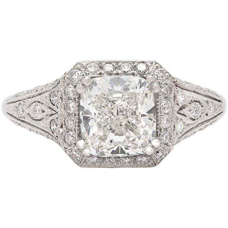 GIA Cushion Cut Diamond and Platinum French Engagement Ring For Sale