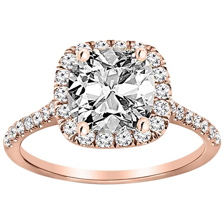 Gia Cushion Cut Diamond Engagement Ring 18 Karat Rose Gold