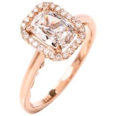 GIA Cushion Diamond D- VS2 18 Karat Gold Engagement Ring
