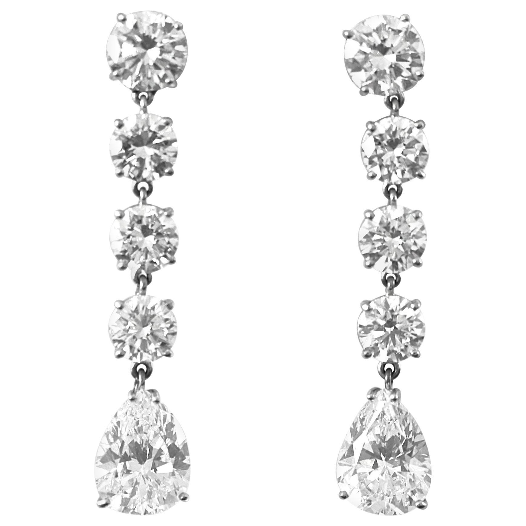 GIA D Flawless Pear Shaped Diamond Drop Earrings