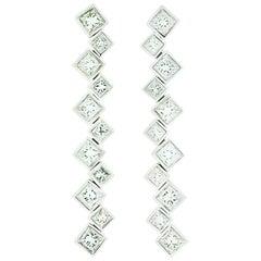 GIA Dangle Diamond Princess Cut Earrings 3.29 Carat