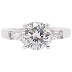 GIA Diamond 1.50 Carat Three-Stone Ring Round and Baguette Diamond Custom Ring