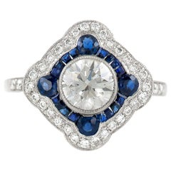GIA Diamond and Sapphire Ring