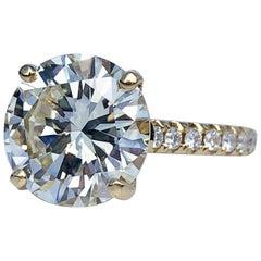 GIA Diamond Brilliant Cut Solitaire Diamond Engagement Ring, M Colour 4.97 Carat
