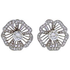 GIA Diamond Gold Flower Earrings