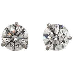 GIA Diamond Stud Earrings 2.10 Carat H-I I1 18 Karat White Gold