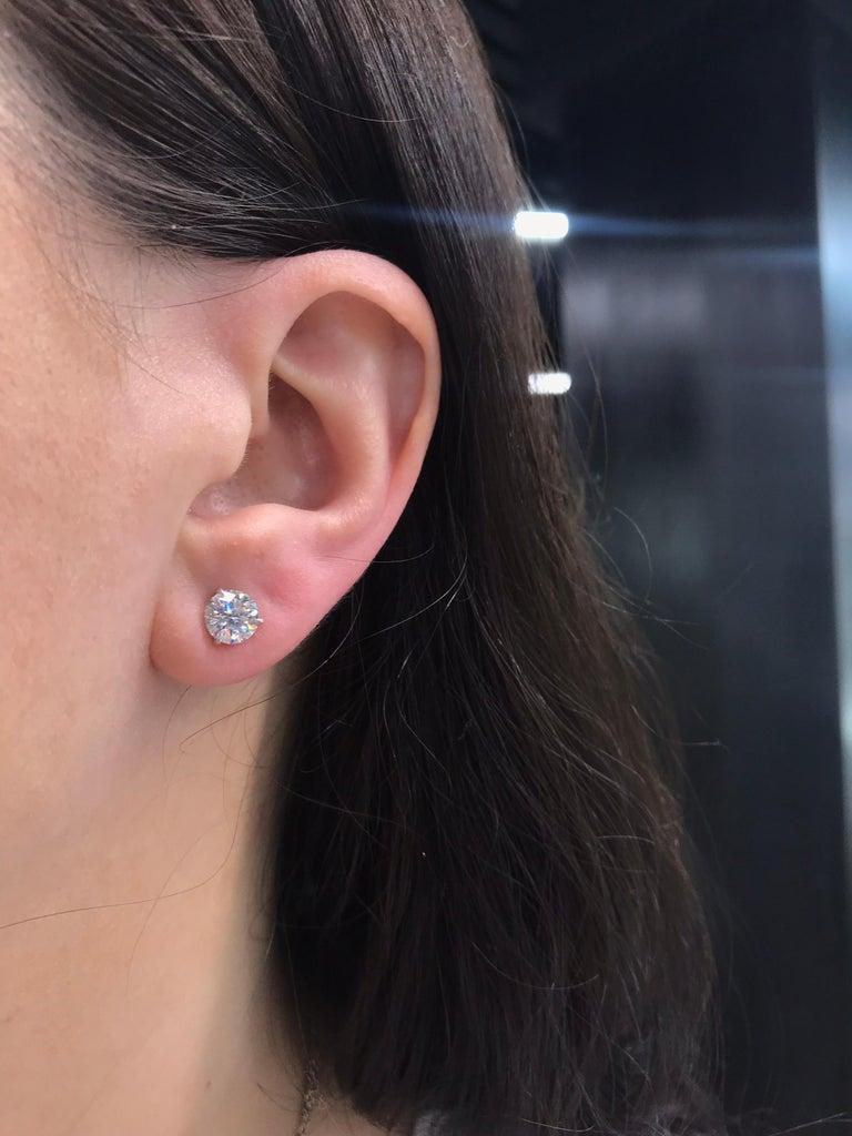 Gia Diamond Stud Earrings 2 10 Carat H I I1 18 Karat White Gold