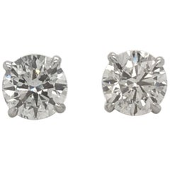 GIA Diamond Stud Earrings 2.16 Carat H-I I1 18 Karat White Gold