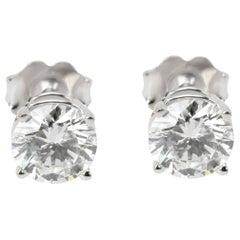 GIA Diamond Stud Earrings in 14 Karat White Gold H VS1 1.49 Carat