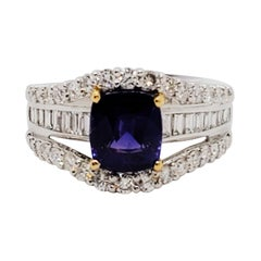 GIA East African Color Change Sapphire Cushion and White Diamond Cocktail Ring