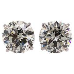 GIA & EGL Certified 6.83 Carat Natural Round Diamond J-K VS2 Earring Studs