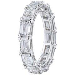 GIA Emerald Cut 5.01 Carat Diamond East West Style Wedding Eternity Band
